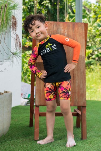 Palm Orange Black Kid Rashguard Set