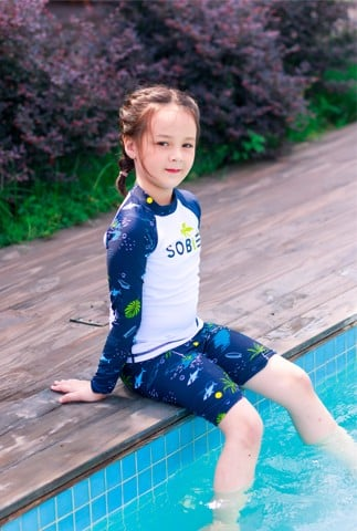 Shark White Navy Kid Rashguard Set