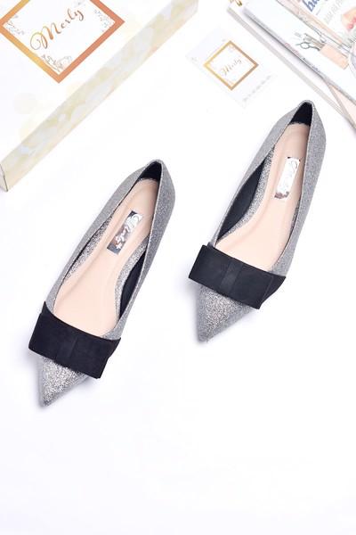 giày búp bê merly 1127 xám bạc kim tuyến
