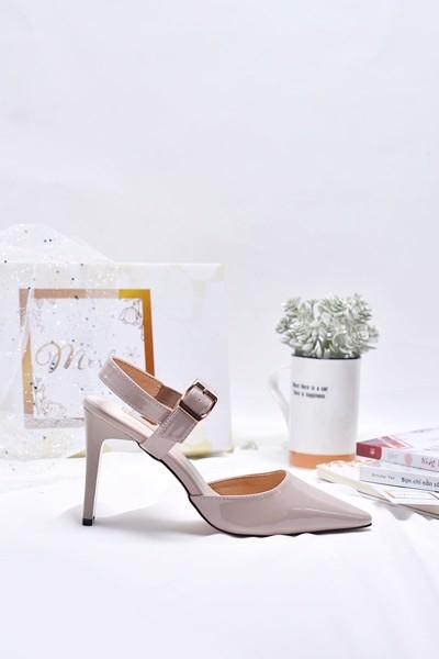 Giày xăng đan cao gót merly 1142 kem hồng