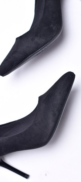 Giày cao gót merly 1157 đen nỉ