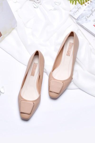 giày gót thấp merly 1169 kem nâu