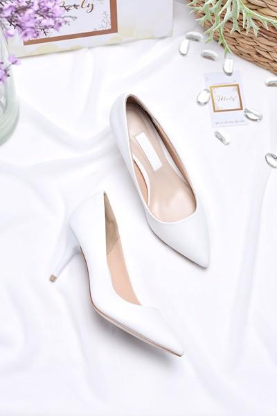 giày cao gót merly 1187 trắng mờ
