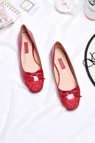 Giày búp bê mũi vuông merly 1202 đỏ bóng