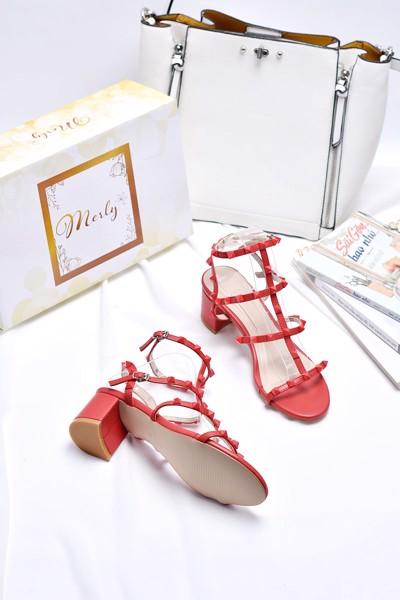 giày xăng đan đinh merly 1206 đỏ mờ