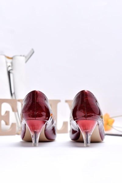 Giày gót thấp merly 1229 đỏ nhũ