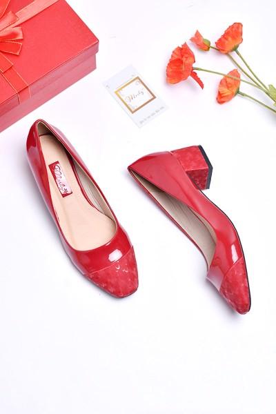 Giày gót thấp merly 1231 đỏ