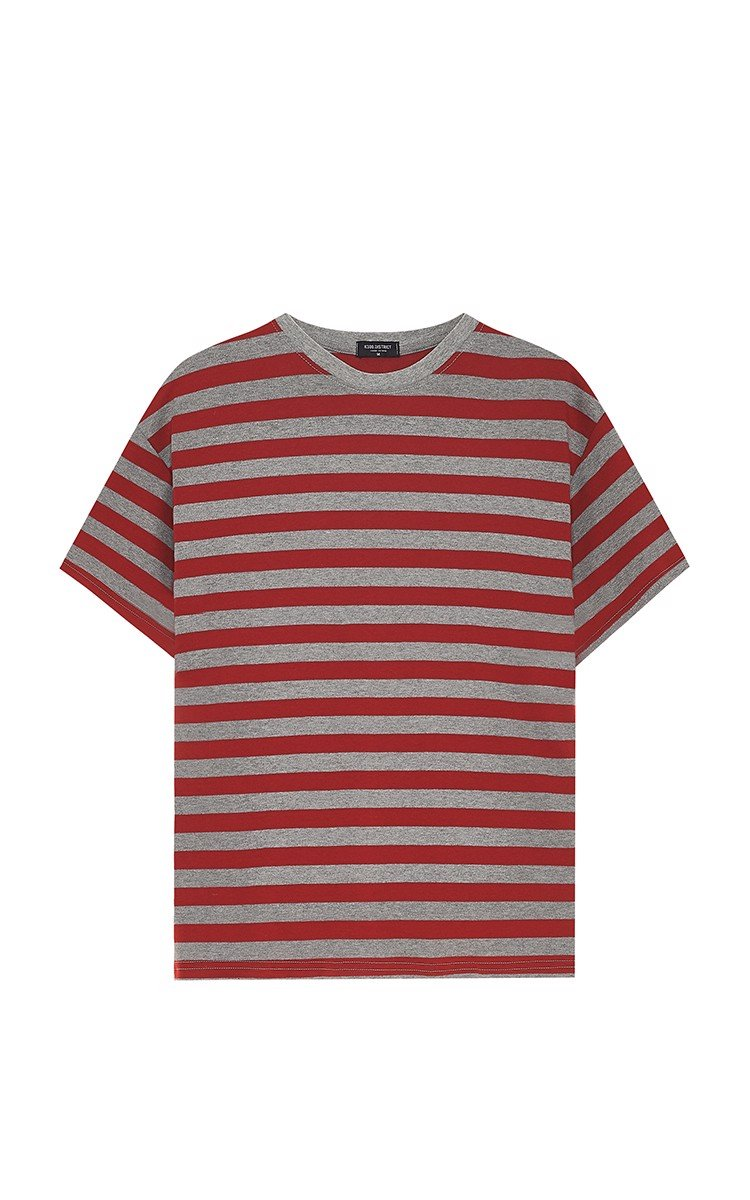 Striped T-Shirt In Red/Grey
