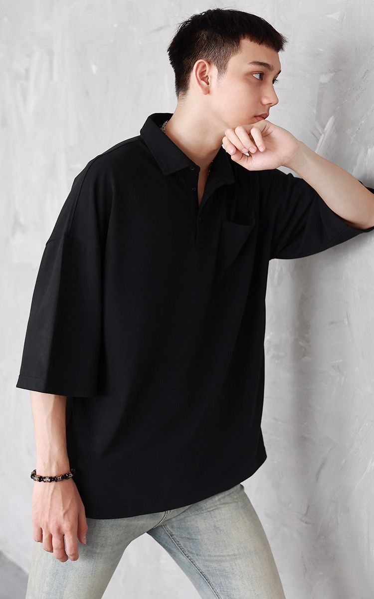 Oversized Polo Shirt in Black