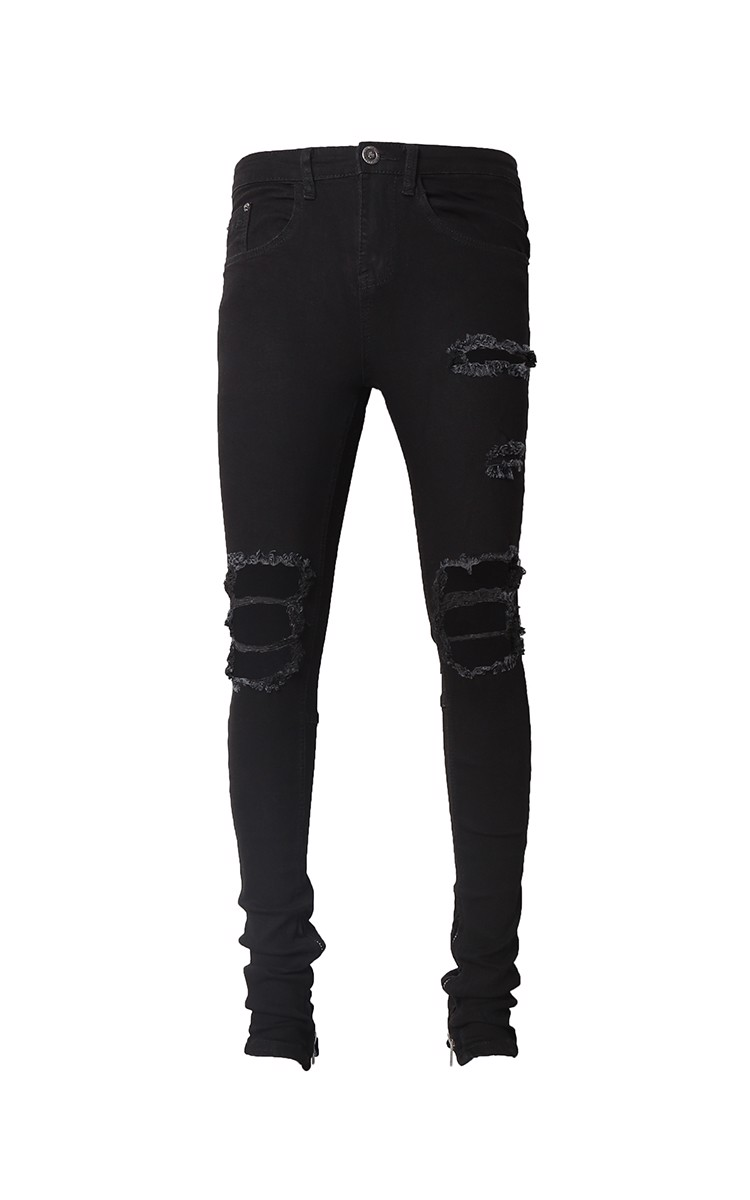 Zip Ripped Knee Stack Skinny Jeans In Black