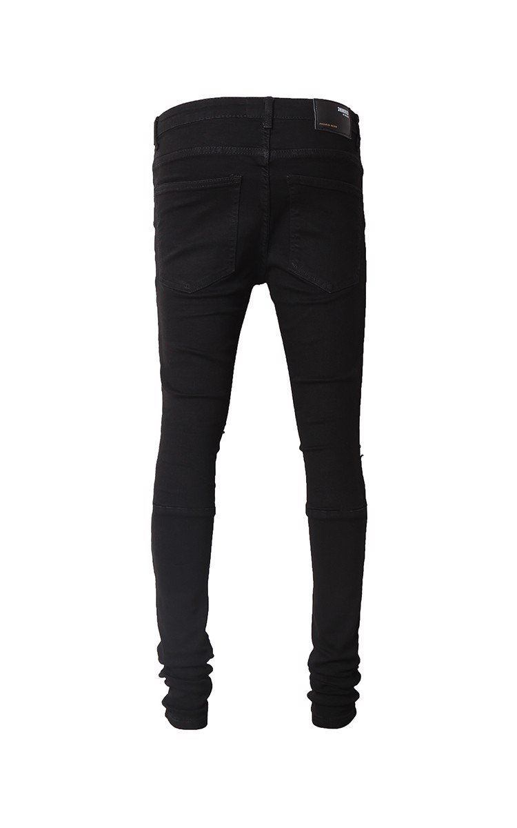 Stack Skinny Biker Jeans With Knee Rips In Black
