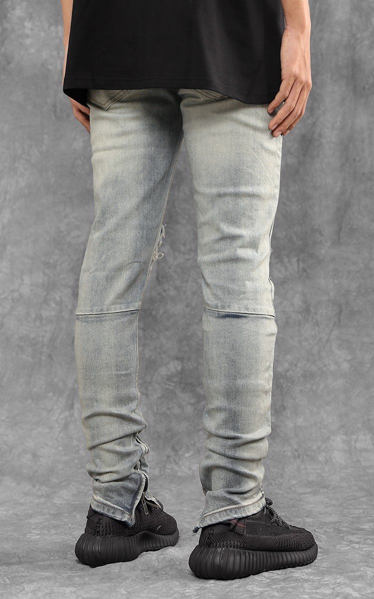 Zip Ripped Knee Skinny Jeans In Blue