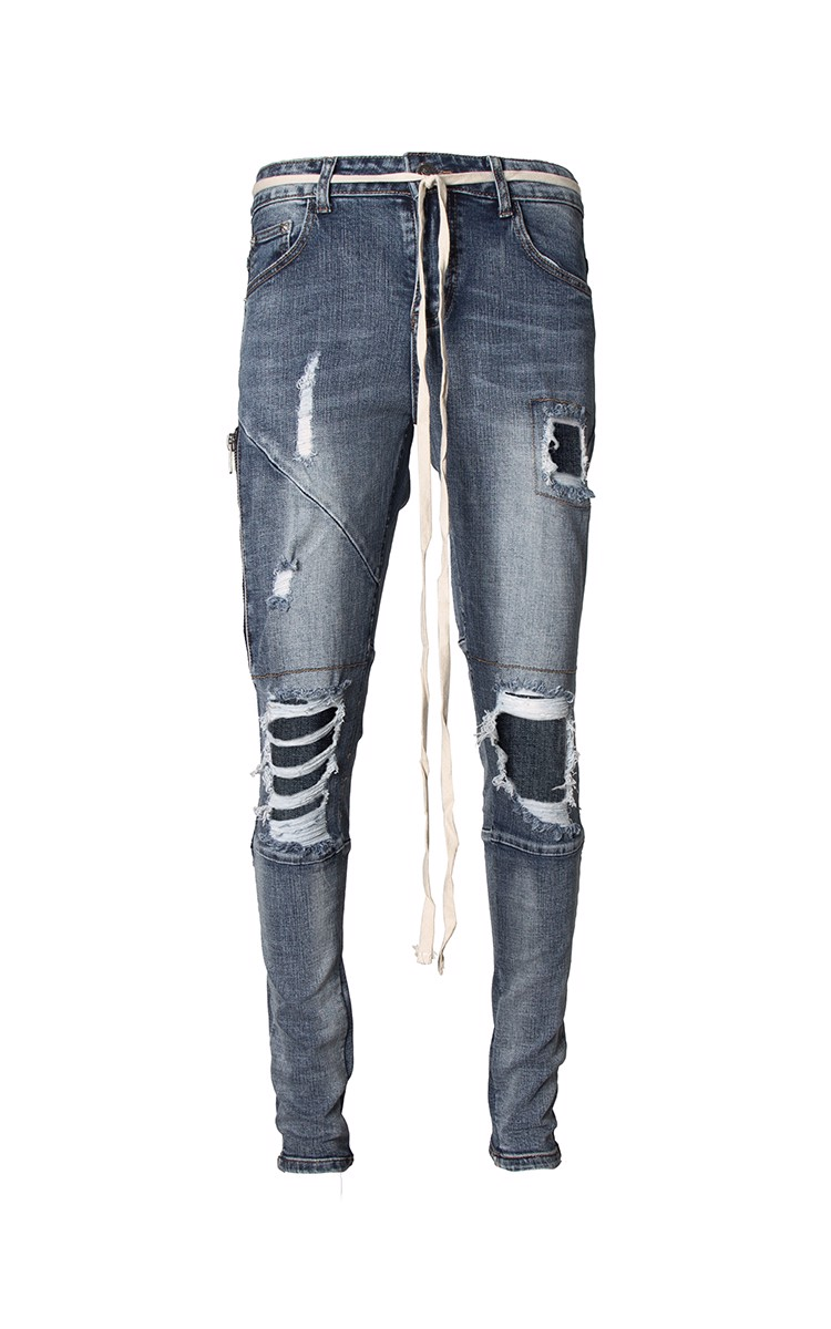 Distressed Skinny Jeans In Blue