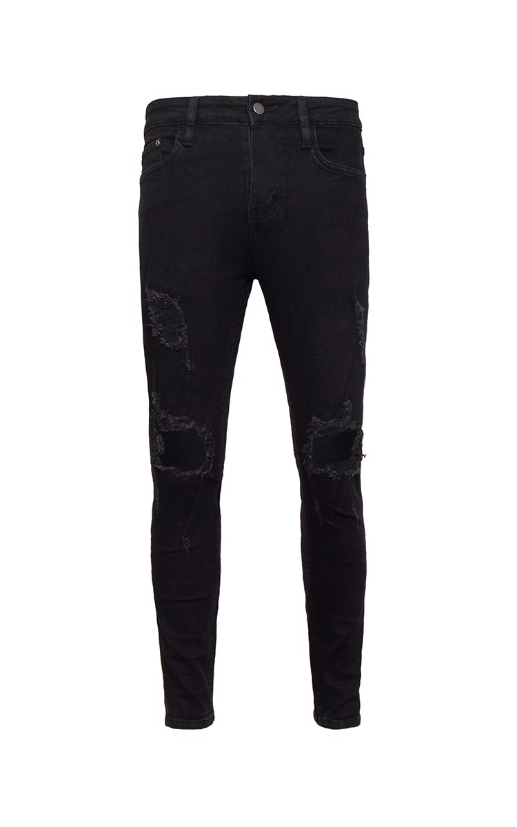 Distressed Skinny Jeans In Black