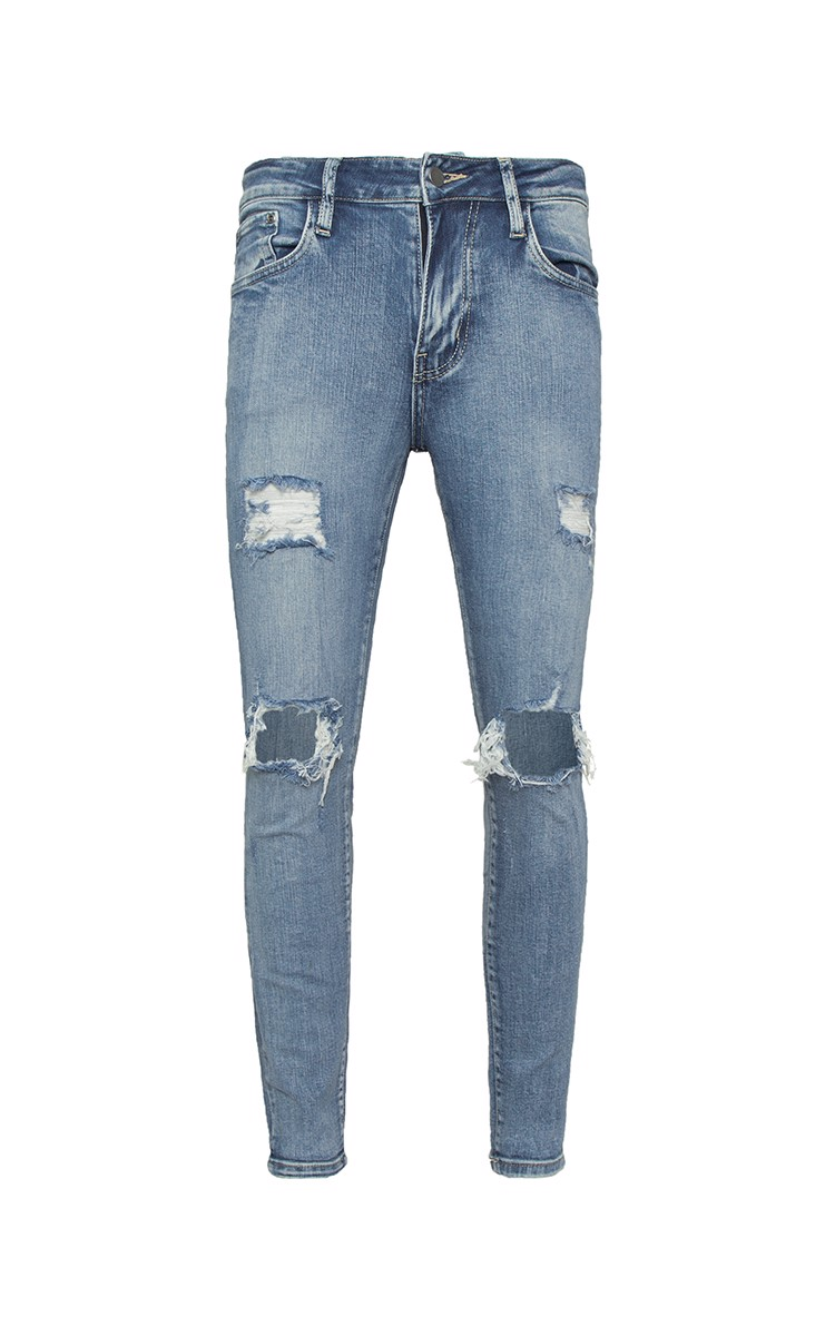 Distressed Skinny Jeans In Wash Blue