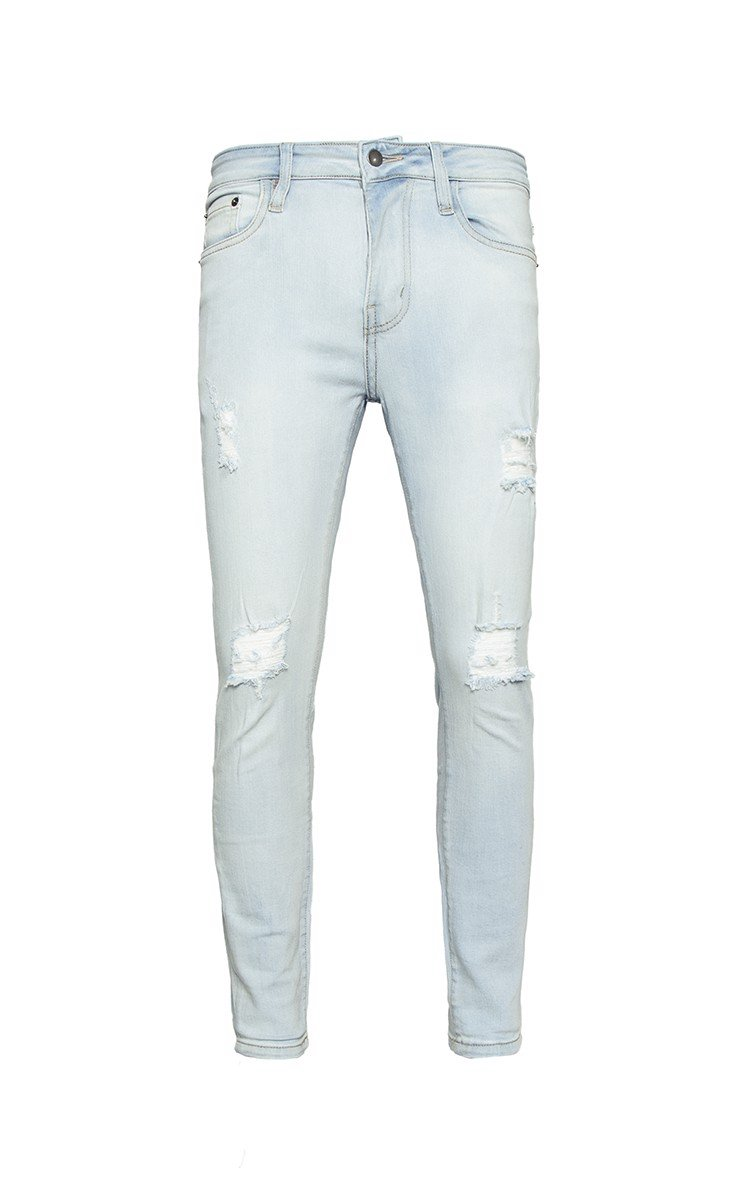 Skinny Jeans With Knee Rips In Blue