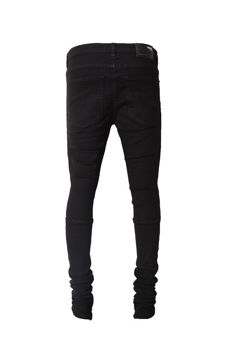 Bandana Zip Ripped Knee Stack Skinny Jeans In Black