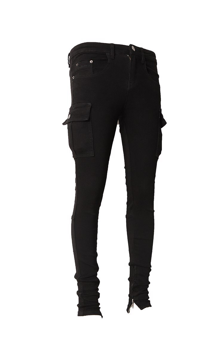 Cargo Stack Skinny Jeans With Zipper In Black