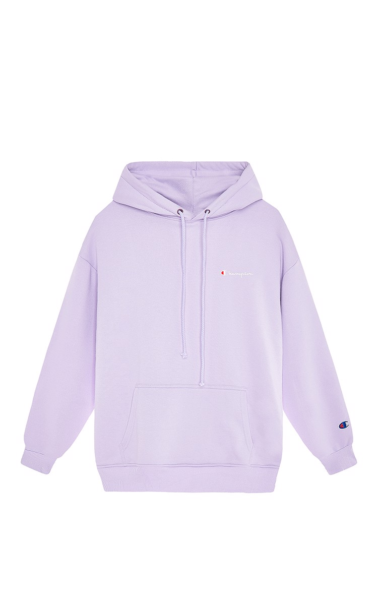 Champion Embroidered Logo Hoodie In Purple
