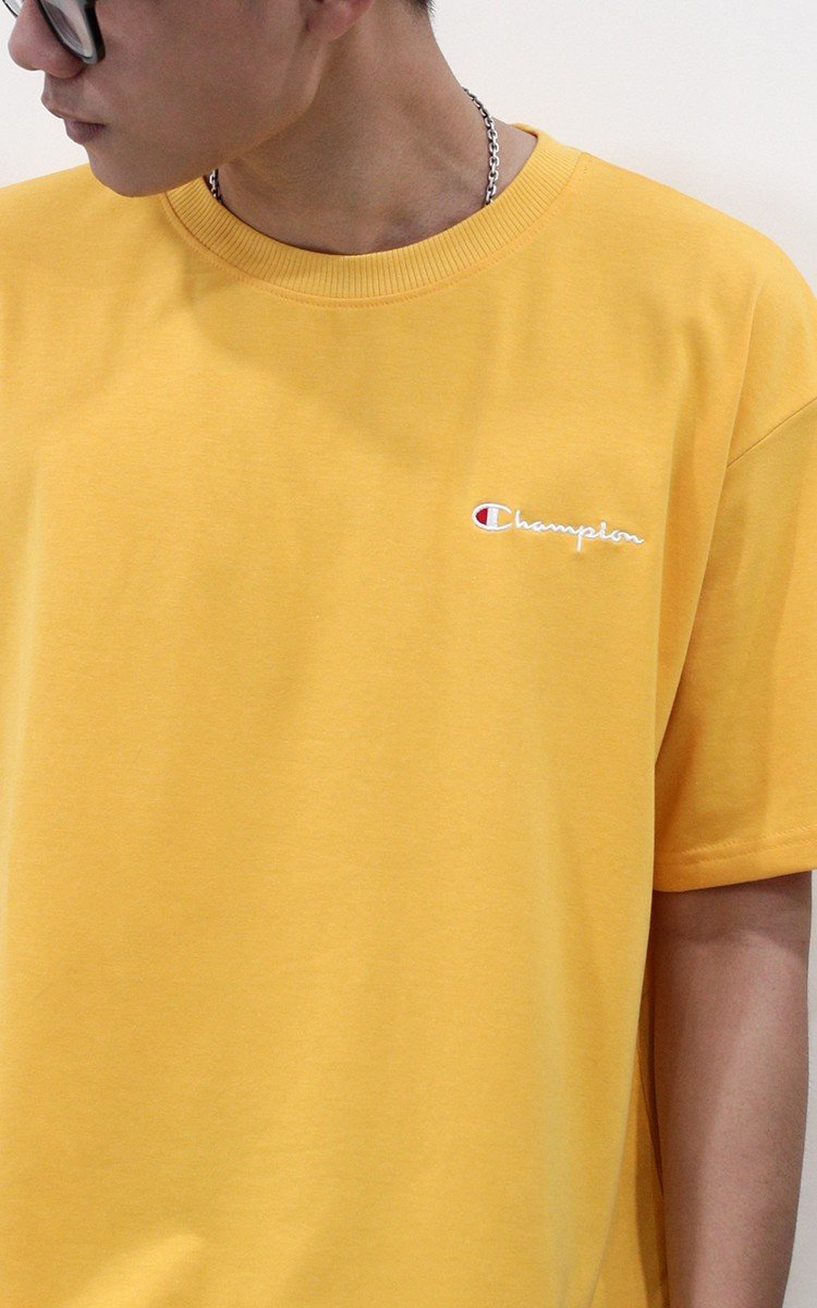 Champion Embroidered Logo T-Shirt In Yellow