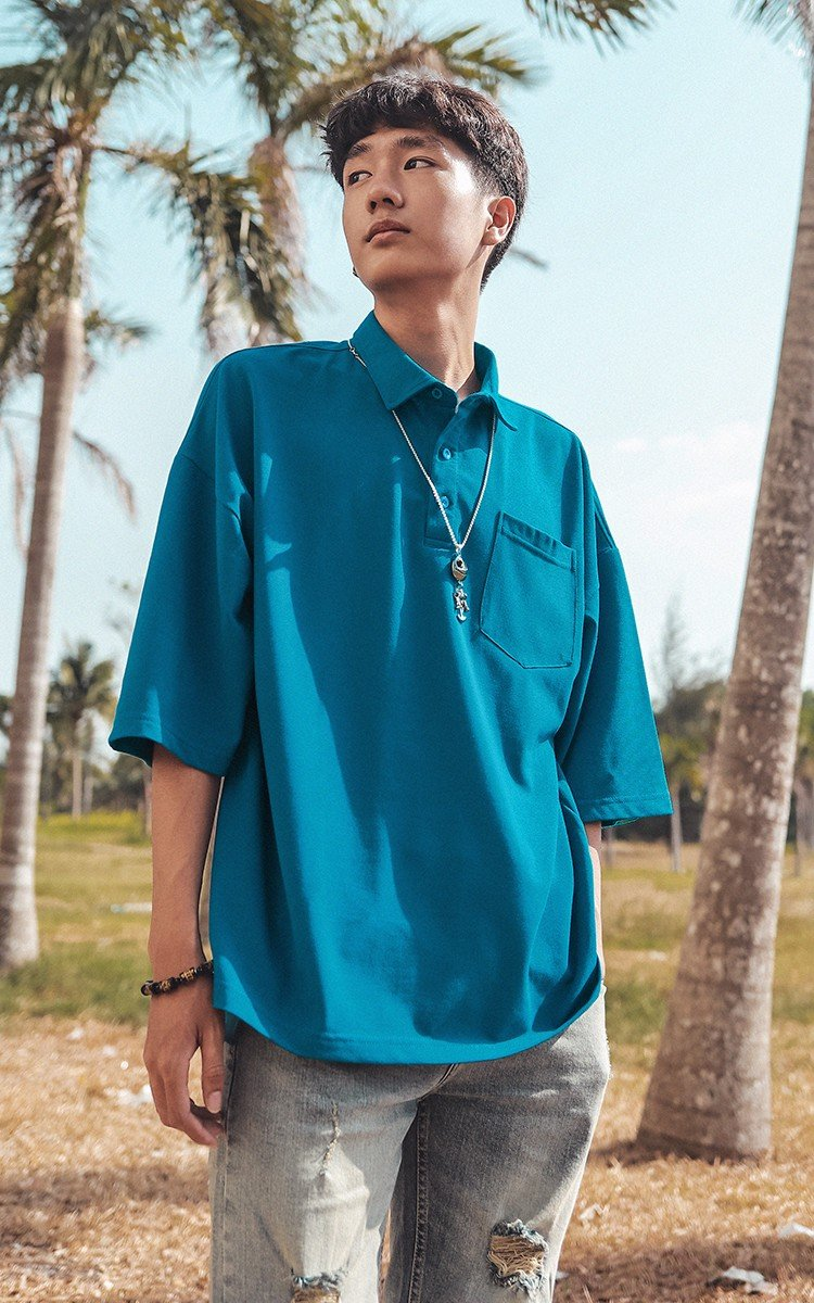Oversized Polo Shirt in Blue