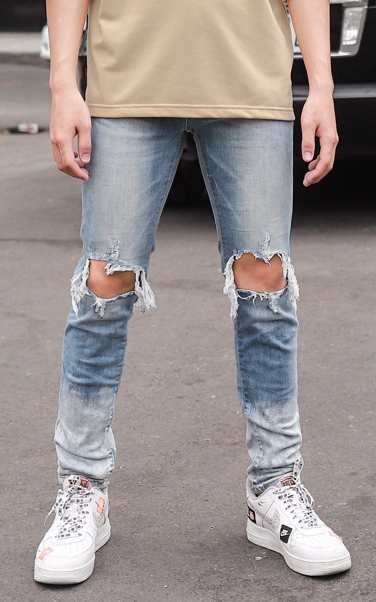 Skinny Jeans With Rips In Mid Wash Blue With Paint Destroy