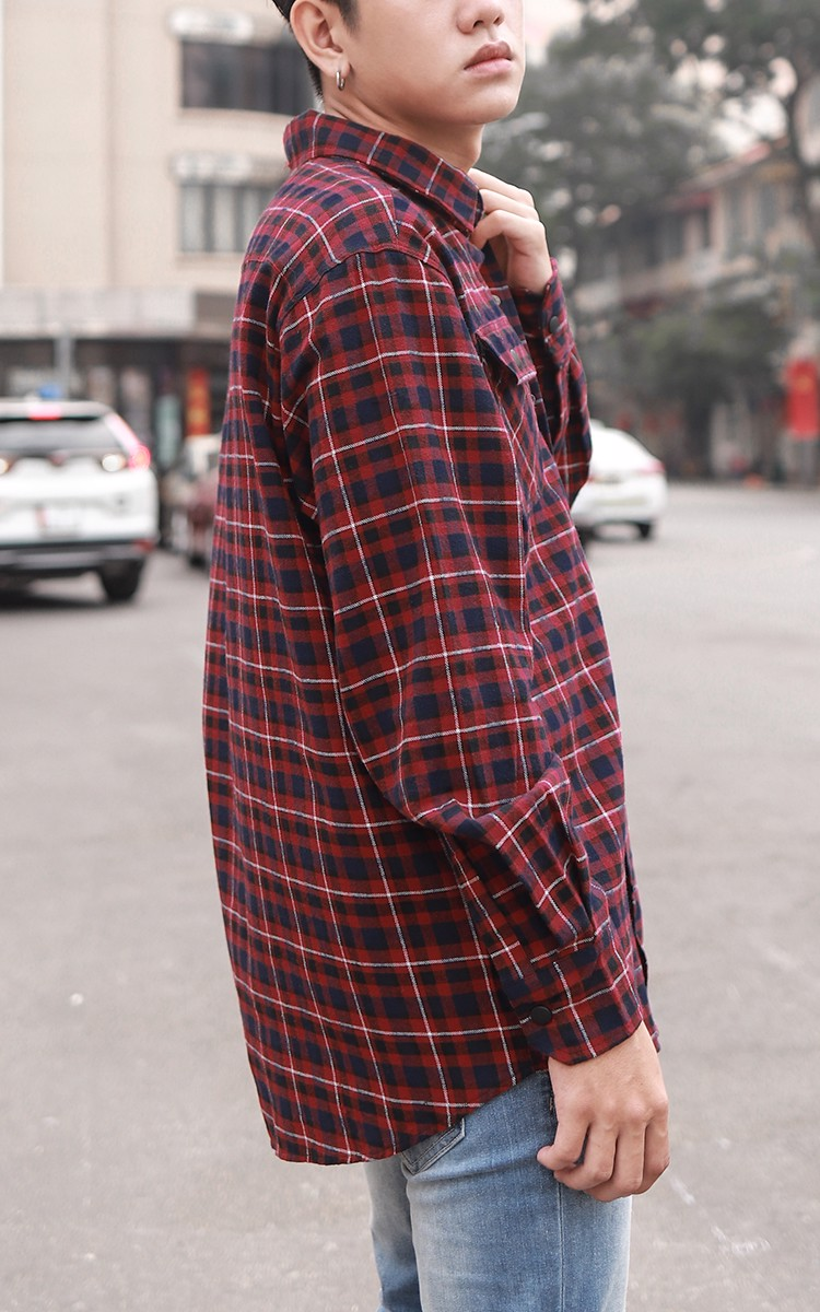 Flannel Shirt In Red And Blue