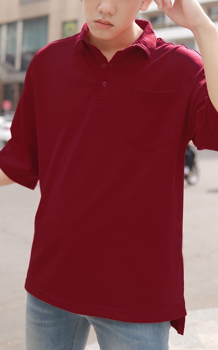 Oversized Polo Shirt in Red
