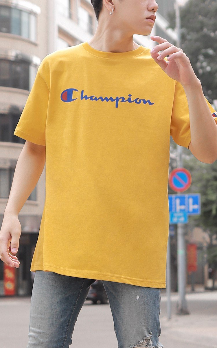 Champion Graphic Big Logo T-Shirt In Yellow