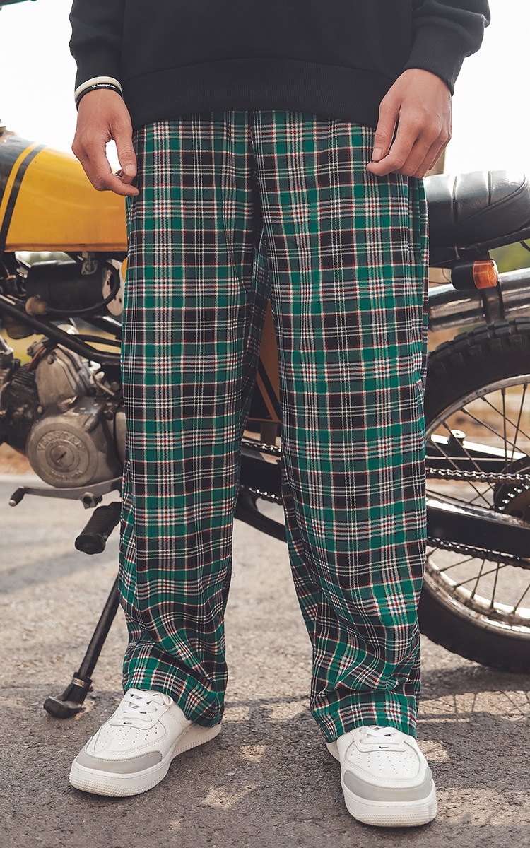 Baggy Caro Pants In Green