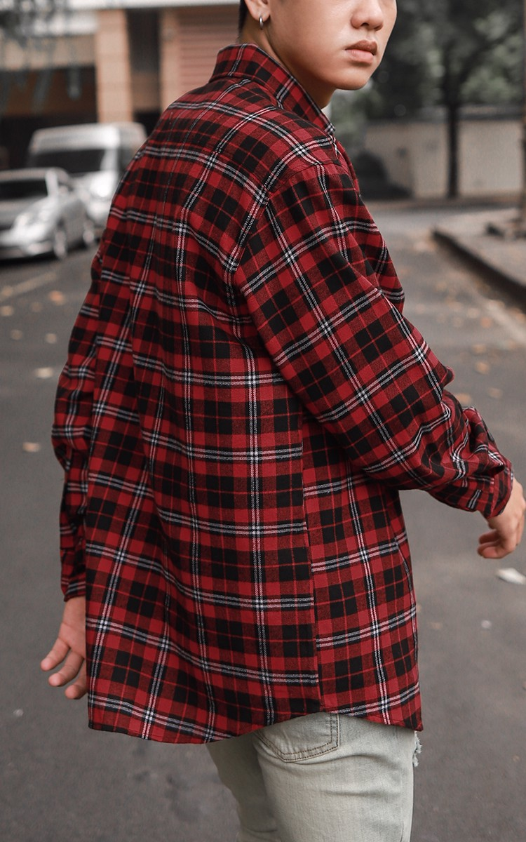 Flannel Shirt In Red And Black