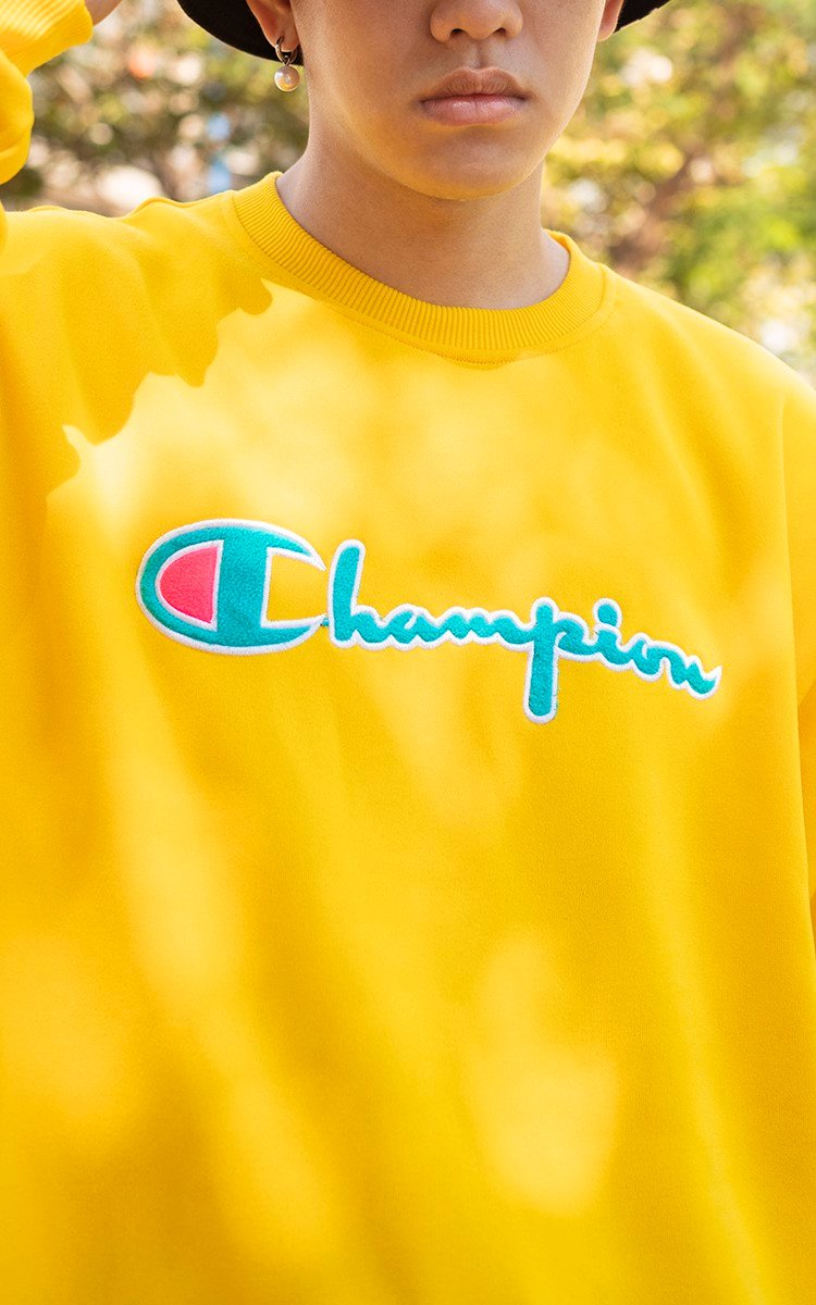 Champion Reverse Weave Sweater In Yellow
