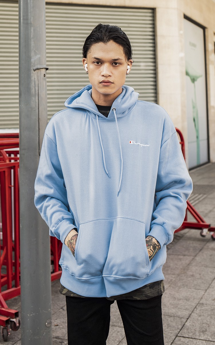 Champion Embroidered Logo Hoodie In Blue