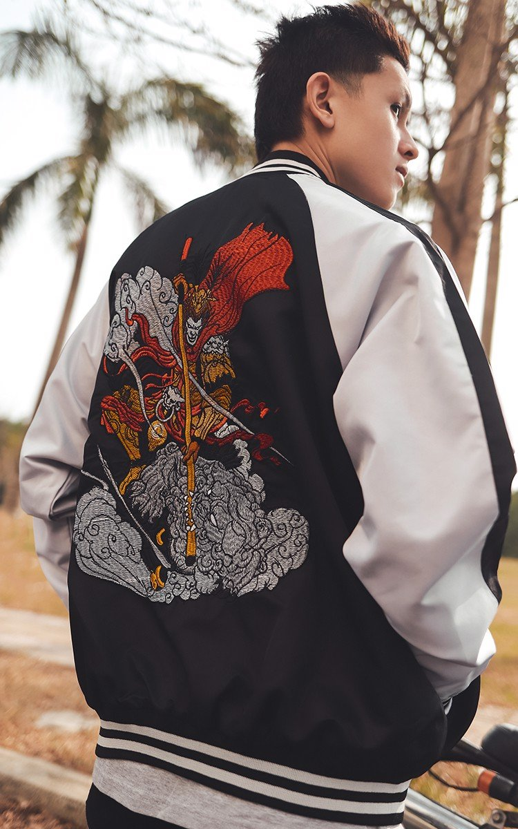 Sun Wukong Sukajan Jacket In Black/White