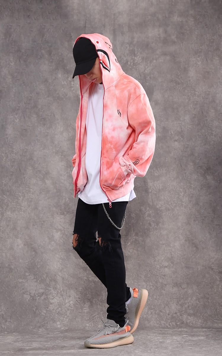 Bape Shark Full Zip With Tie Dye In Pink