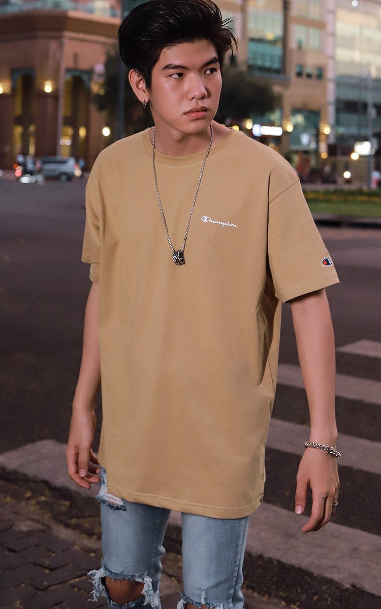 Champion Graphic Logo T-Shirt In Tan
