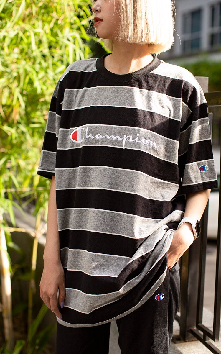 Striped Champion T-Shirt In Grey/Black