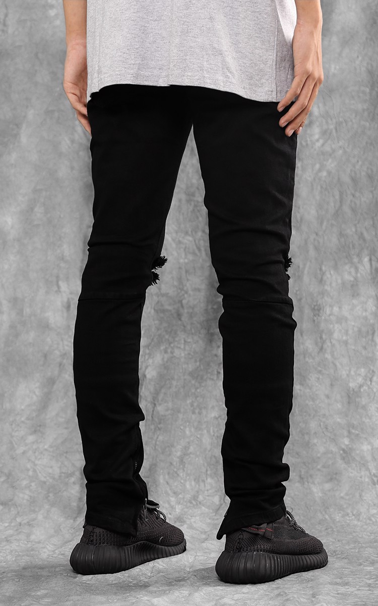 Zip Ripped Knee Skinny Jeans In Black