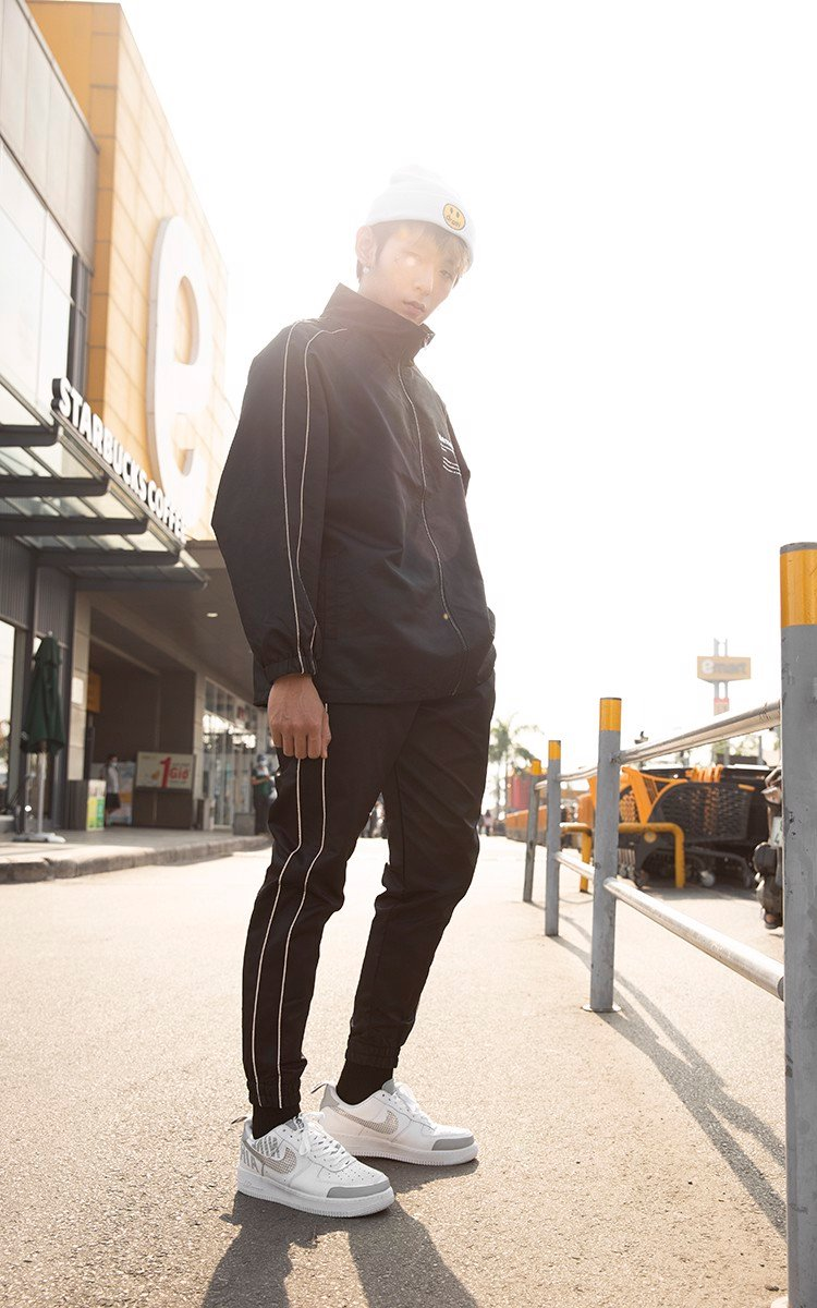 Memories Side Reflective Stripe Track Jacket In Black