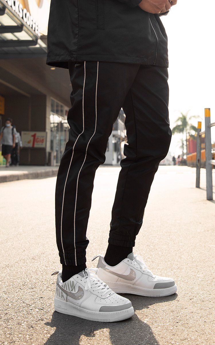Memories Side Reflective Stripe Track Pants In Black