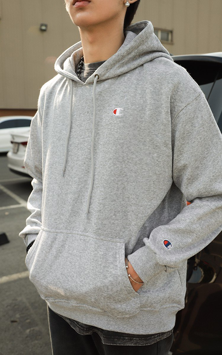 Champion Embroidered Logo Hoodie In Grey