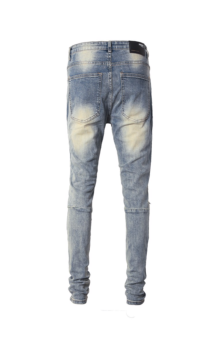 Stack Skinny Jeans With Knee Rips In Mid Wash Blue