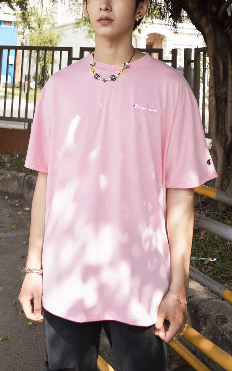 Champion Embroidered Logo T-Shirt In Pink