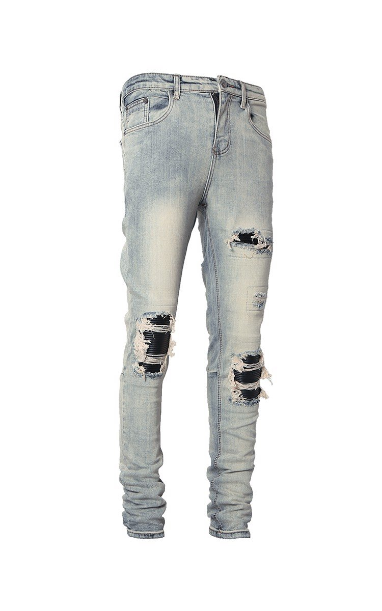 Stack Skinny Biker Jeans With Knee Rips In Blue