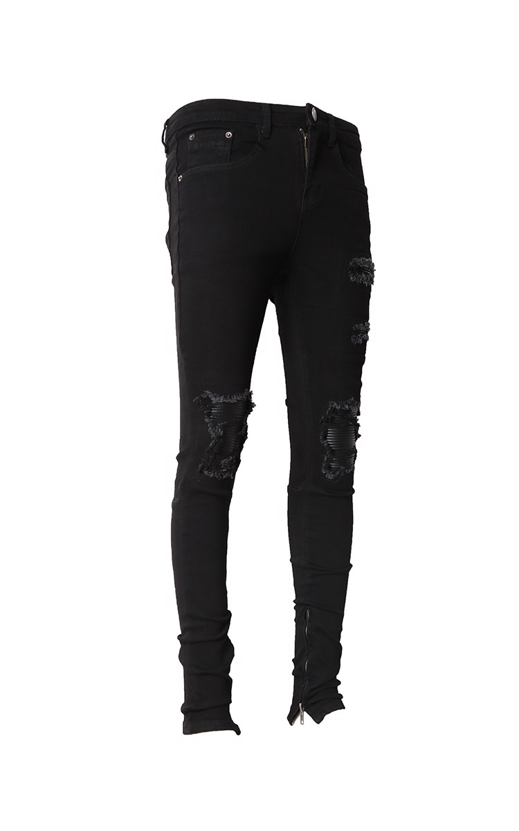 Zip Ripped Knee Stack Skinny Biker Jeans In Black