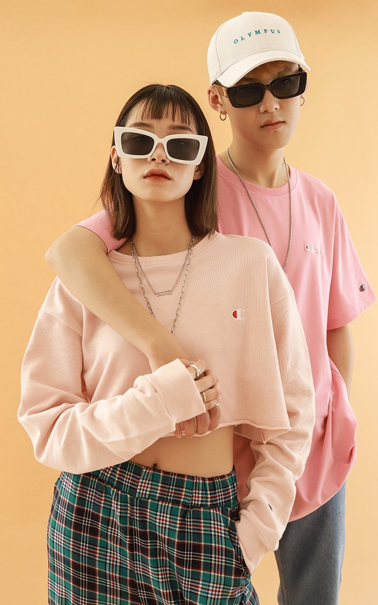 Champion Cropped Cut-Off Crew In Pink