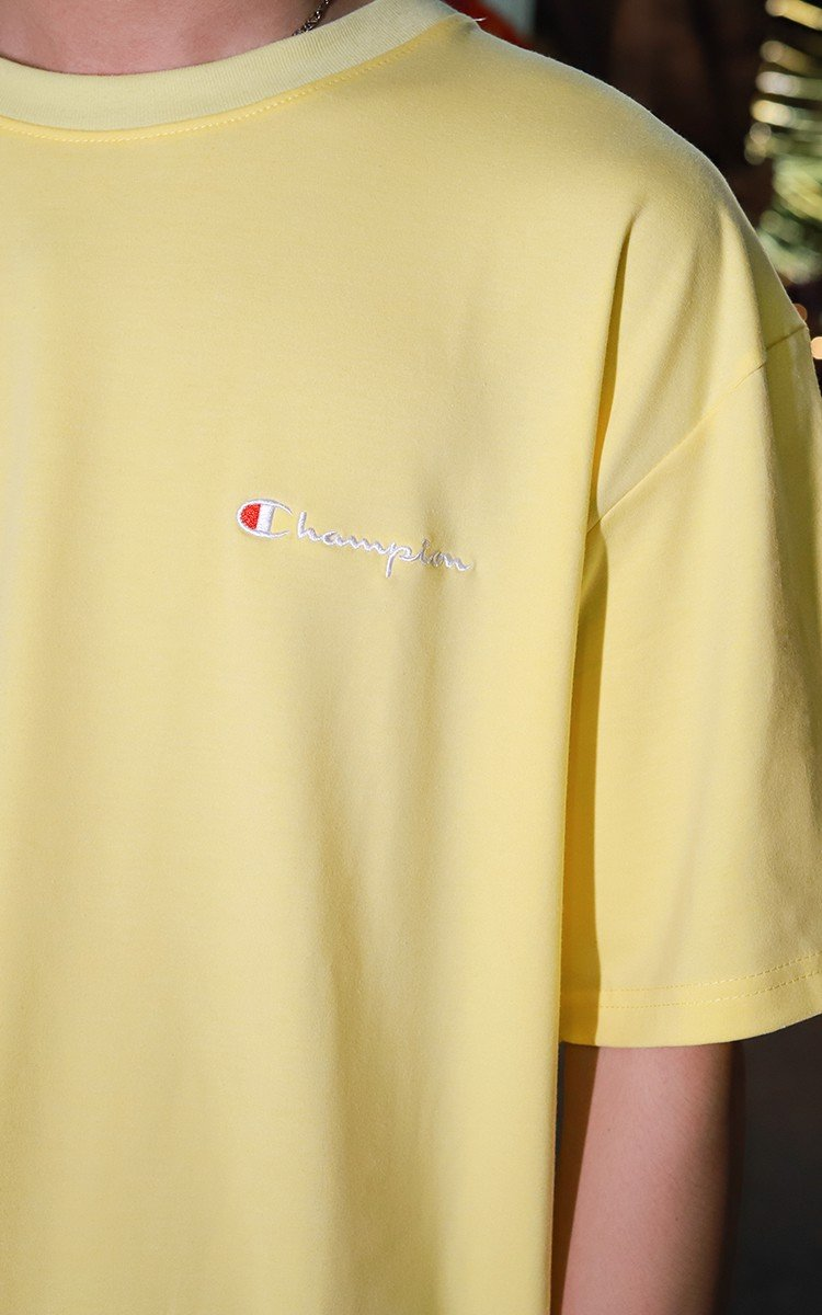Champion Embroidered Logo T-Shirt In Cornsilk
