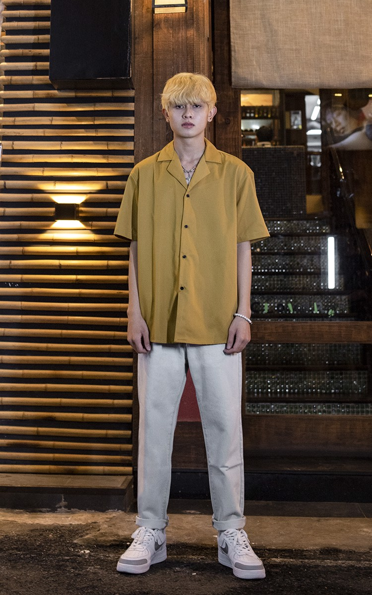 Revere Collar Shirt In Mustard Yellow