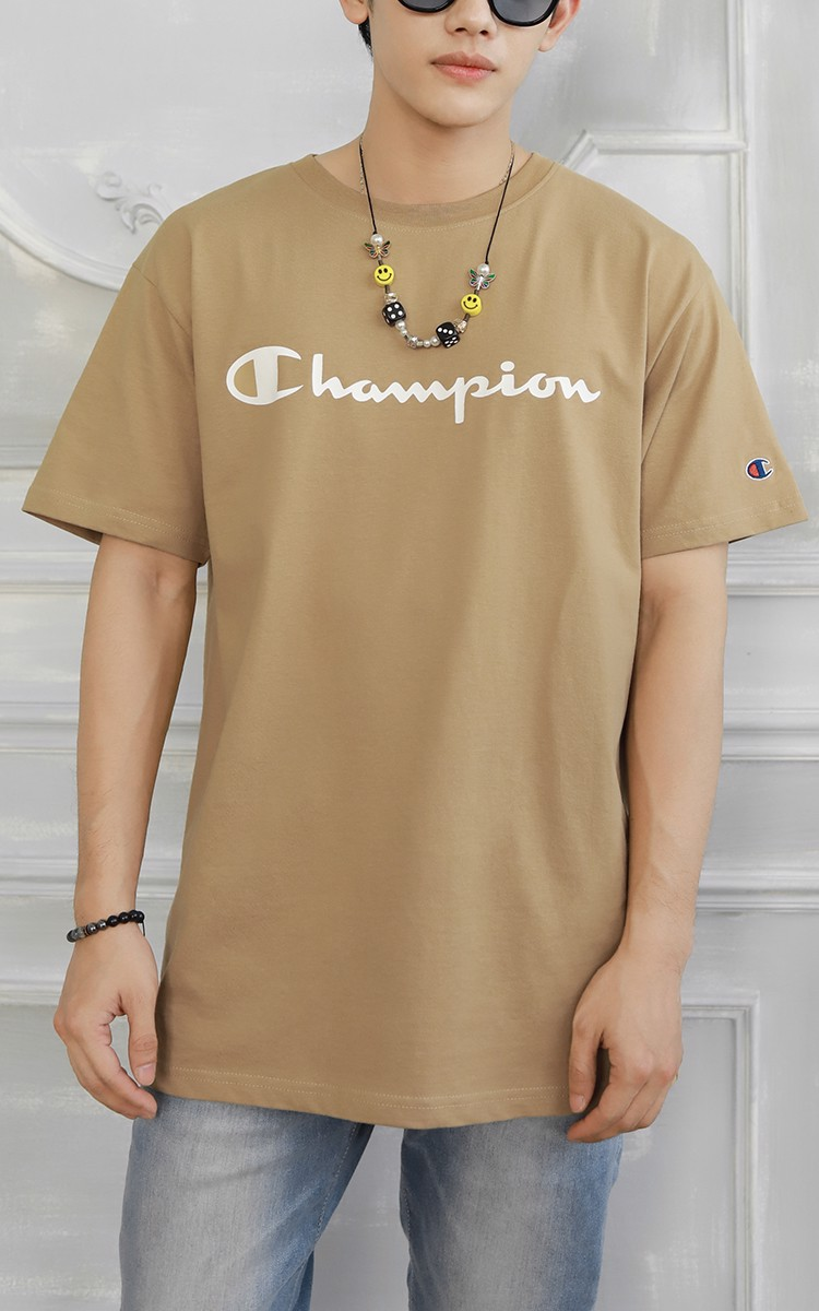 Champion Graphic Big Logo T-Shirt In Tan