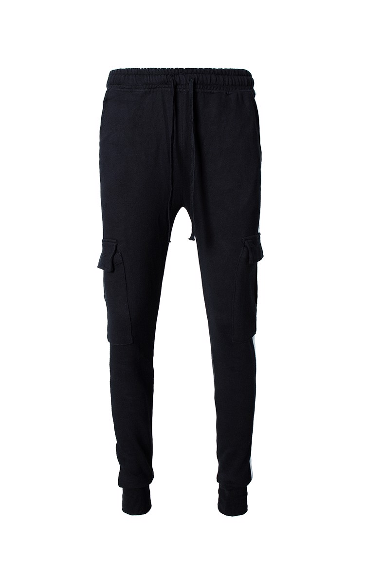Double Side Stripe Jogger With Pocket In Black